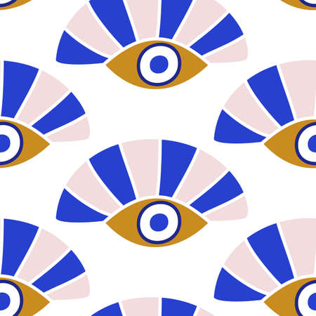Evil eyes seamless pattern in blue, white, golden colors Ilustrace