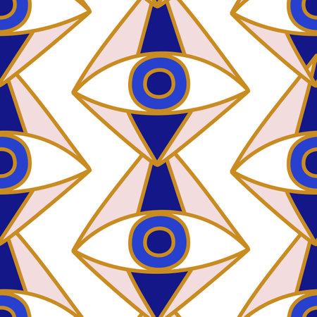 Evil eyes seamless pattern in blue, white, golden colors 向量圖像