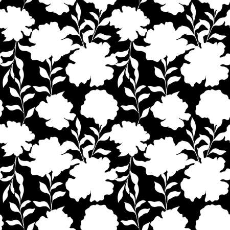 Floral seamless pattern with vintage peony blossom flowers