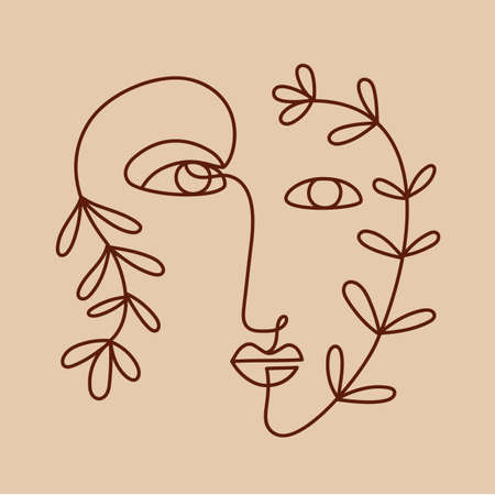 Fashion One line drawing logo, women face with plant