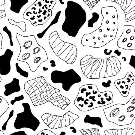 Hand drawn ink doodle shapes seamless pattern