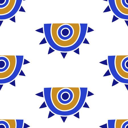 Mediterranean geometric evil eyes seamless pattern 向量圖像