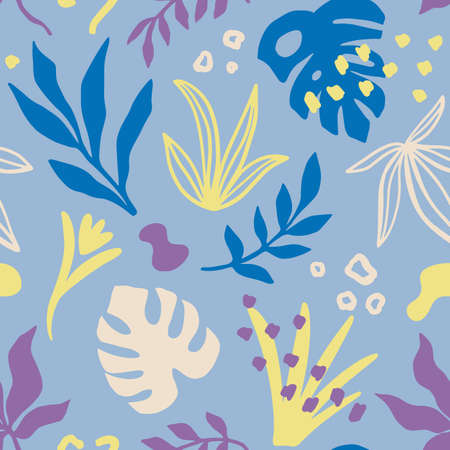 Tropical leaves Seamless pattern, colourful hand drawn plants texture