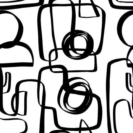 Hand drawn ink geometric shapes seamless pattern 向量圖像