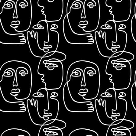 Line art people, abstract faces seamless pattern texture 向量圖像