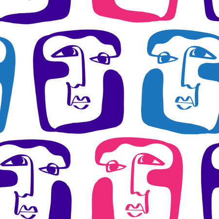 Colored Modern Abstract Faces Seamless Pattern Texture 向量圖像