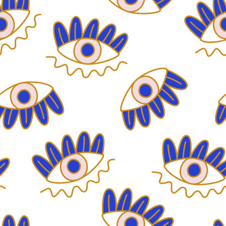 Mediterranean geometric evil eyes seamless pattern Illustration
