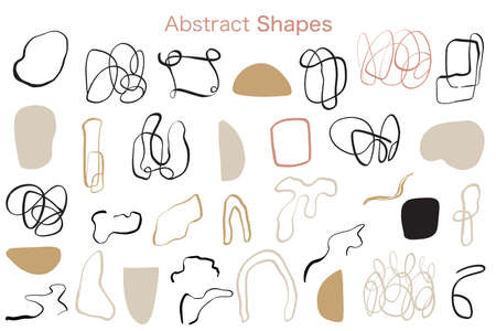 Minimal Abstract organic shapes elements collection