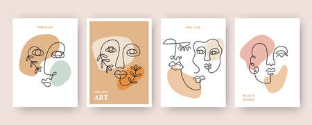 Minimal Abstract backgrounds with Trendy One line drawing of faces