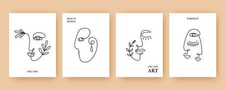 Minimal Abstract backgrounds with Trendy One line drawing faces 向量圖像