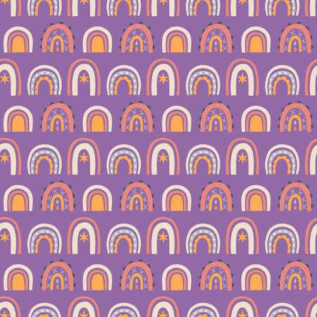 Rainbows boho hand drawn seamless pattern
