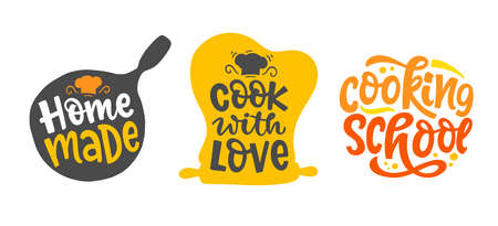 Cook with love, Home made bakery, culinary logotype set, hand written lettering 向量圖像