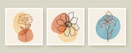 Botanical wall art posters vector templates set