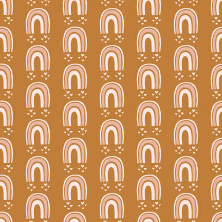 Rainbows boho hand drawn doodles seamless pattern