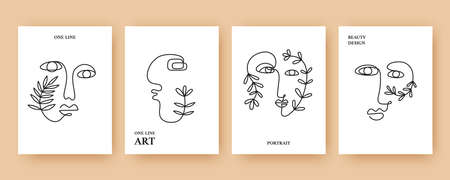 Minimal Abstract backgrounds with Trendy One line drawing faces 일러스트