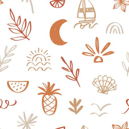 Tropical beach summer seamless pattern