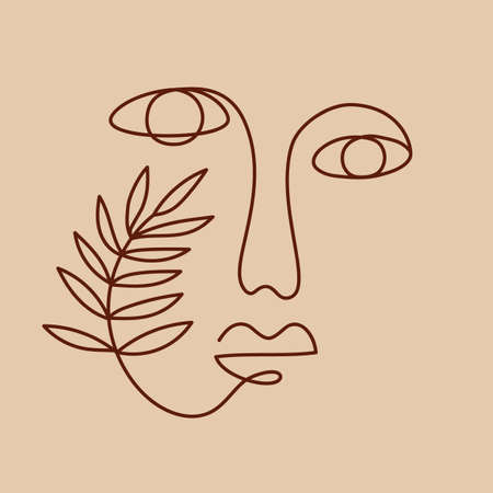 One line drawing women face