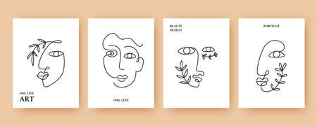 Minimal Abstract backgrounds with Trendy One line drawing faces Stock Illustratie