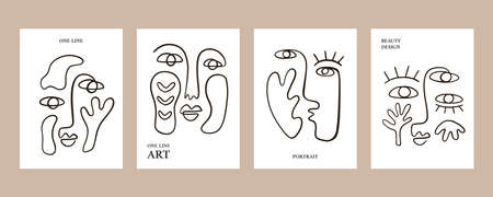 Abstract faces posters collection 向量圖像