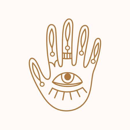 Female hand logo, minimal linear style icon