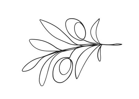 One line drawing olives 向量圖像