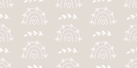 Cute rainbows elegant seamless pattern
