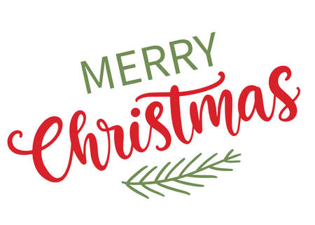 Merry Christmas modern calligraphy phrase quote 向量圖像