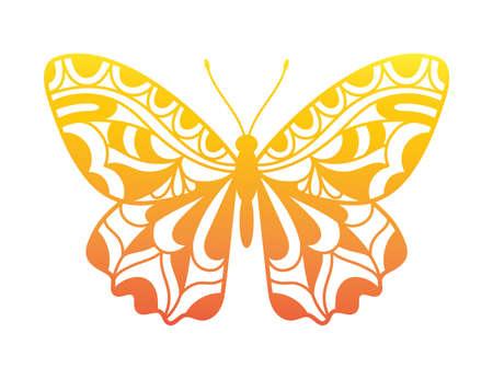 Beautiful Butterfly hand drawn ornamental artistic print