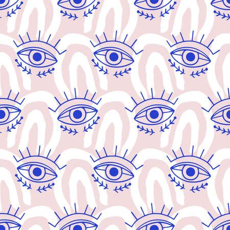 Aztec Evil eyes seamless pattern