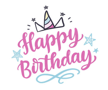 Happy Birthday cute hand written lettering