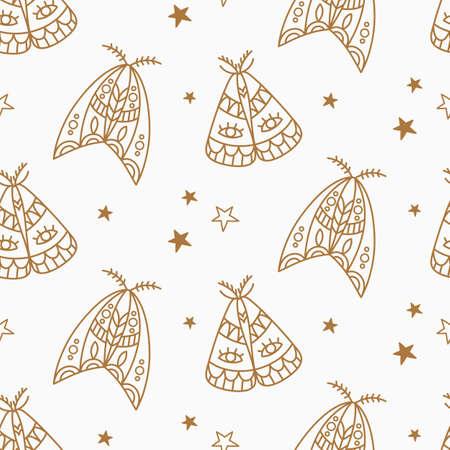 Butterfly boho minimal seamless pattern 向量圖像