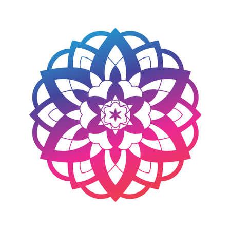 Mandala gradient sunflower print, Sacred geometry round yoga symbol