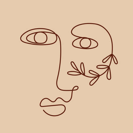 One line drawing women face. Abstract nature female portrait 向量圖像