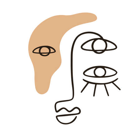 Abstract face portrait with neutral colors shapes
