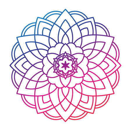 Mandala sunflower print, Sacred geometry round yoga symbol 向量圖像