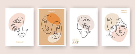 One line drawing women faces tags collection