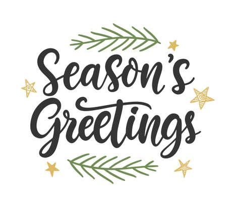 Seasons Greetings phrase quote, banner, gift card, seasonal store sale design