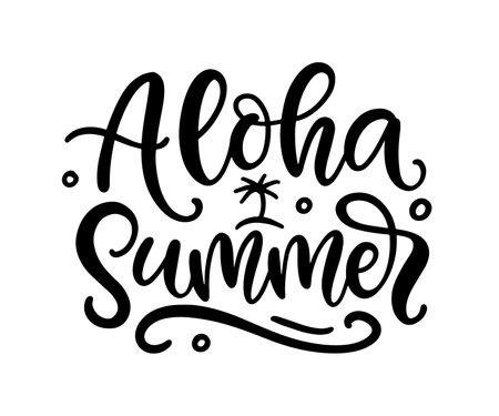 Aloha summer hand written lettering template