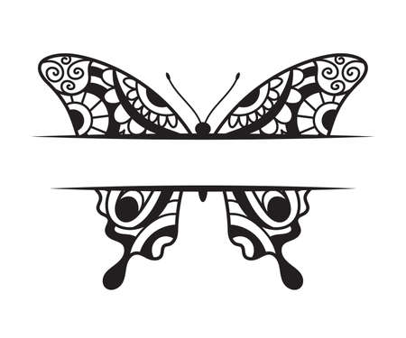 Beautiful Butterfly template with a copy space hand drawn ornamental artistic print