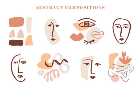 Modern abstract shapes templates set 向量圖像
