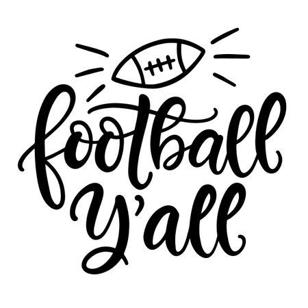 Football yall hand written lettering template