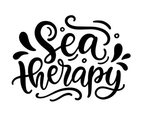 Sea therapy hand written lettering template
