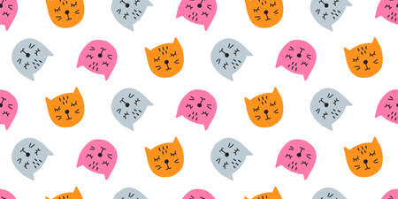 Vector Cute Cats Seamless Pattern 向量圖像