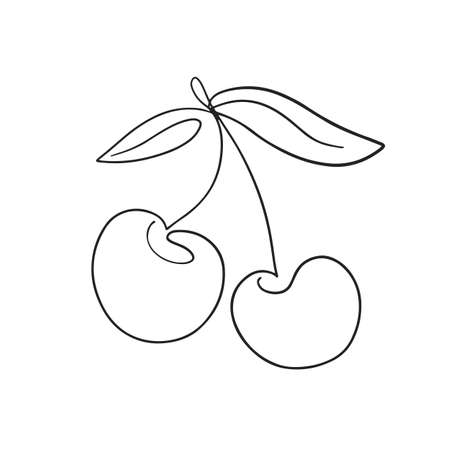 One line cherry drawing