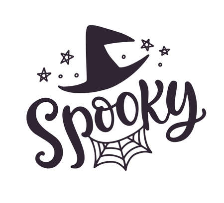 Spooky. Halloween Party Poster with Handwritten Ink Lettering