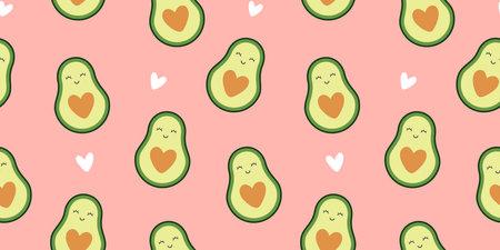 Cute Avocado Seamless Pattern on Pink Background