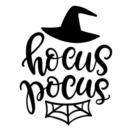 Hocus Pocus Halloween Party Poster with Handwritten Ink Lettering 向量圖像