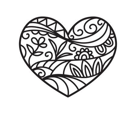 Heart shape print, isolated on white, boho ethnic style outline tattoo