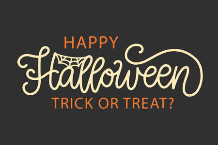 Happy Halloween Banner, Party Poster with Handwritten Ink Lettering