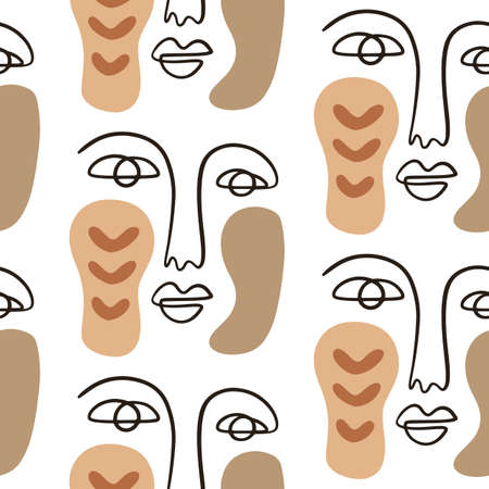 Abstract faces seamless pattern background 向量圖像